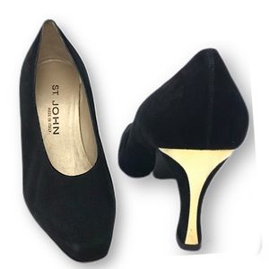 St. John suede heels with gold tone trim